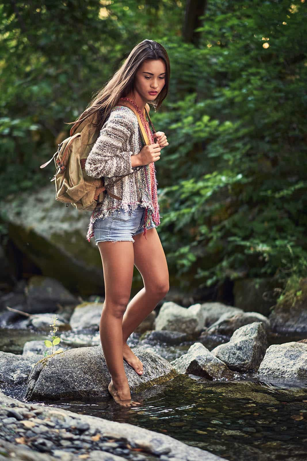 Barefoot wilderness hike