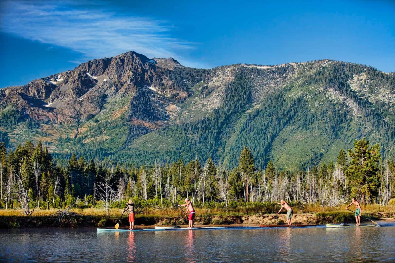 Paddle boarding on Lake Tahoe.