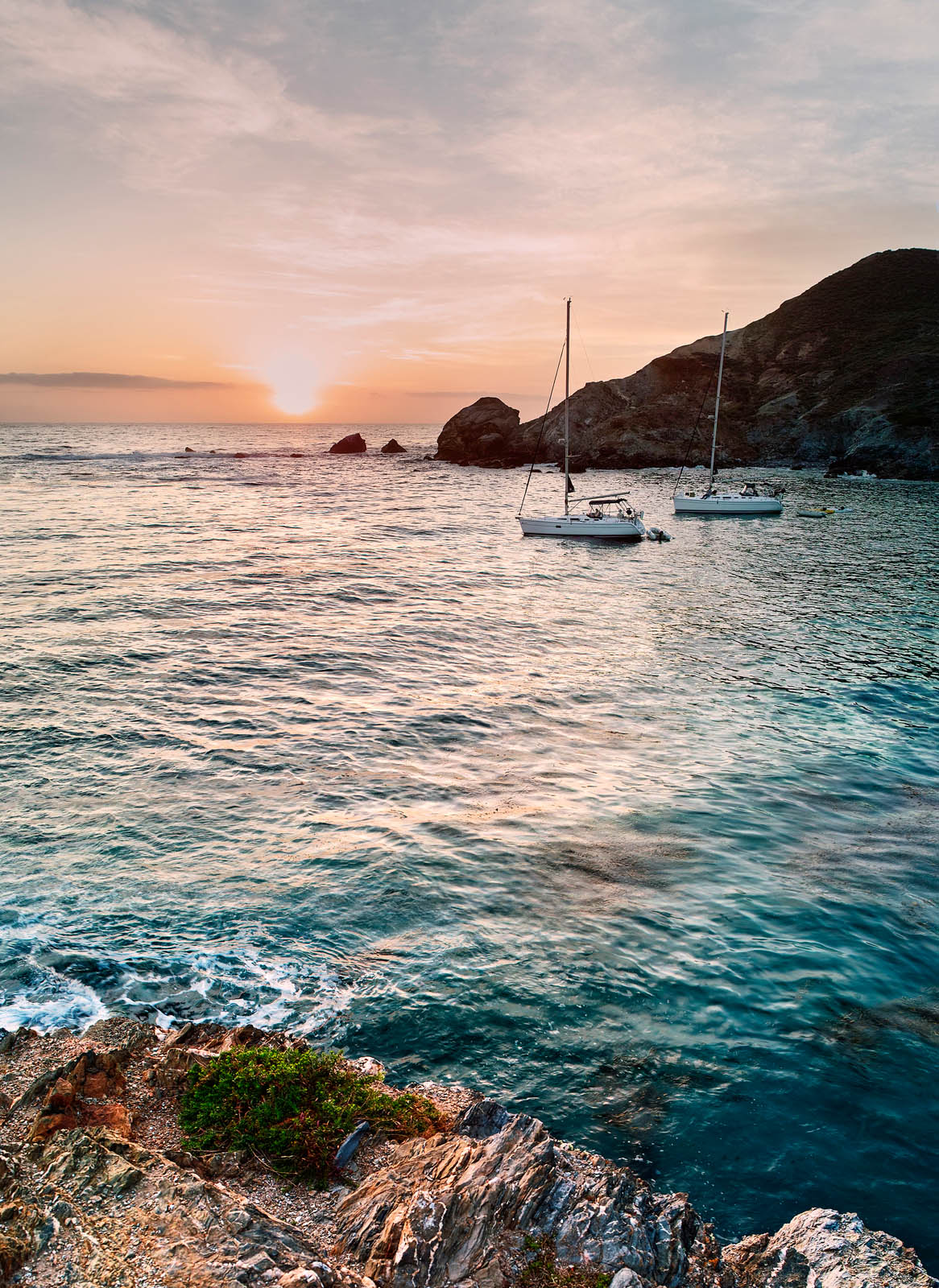 Sailboats in a Cove on Catalina Island.