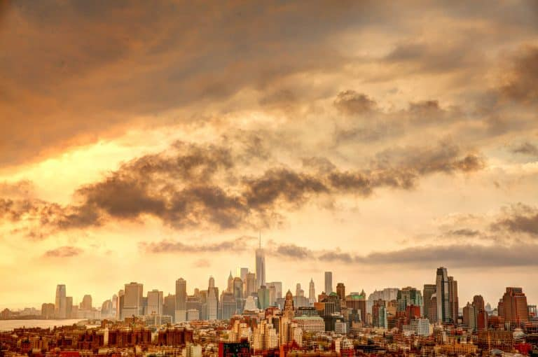 New York cityscape after a rain storm.