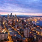Cityscape of the Seattle Skyline just before sunrise.