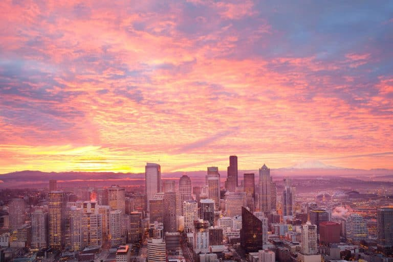 Seattle cityscape at sunset.