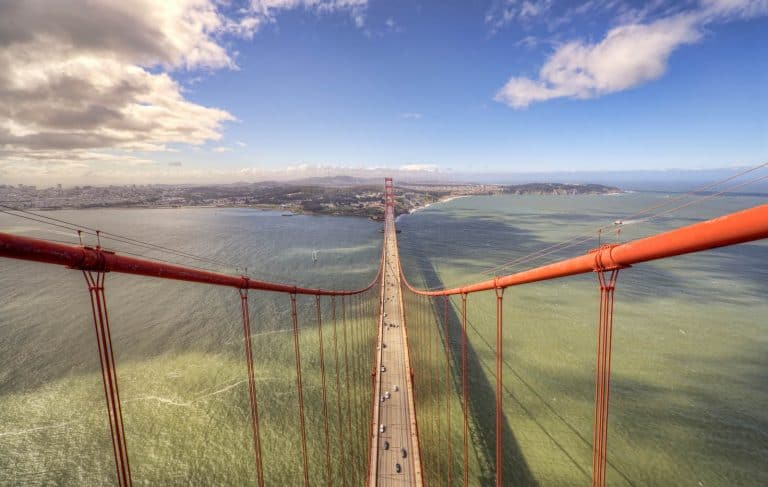 A photo taken from the North Tower of Golden Gate Bridge in San Francisco.